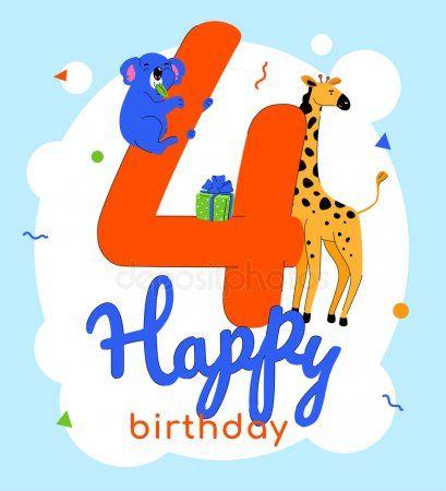 Children 4th Birthday Greeting Card Vector Template Stock Vector Affiliate Greeting Card Children Birthday Ad