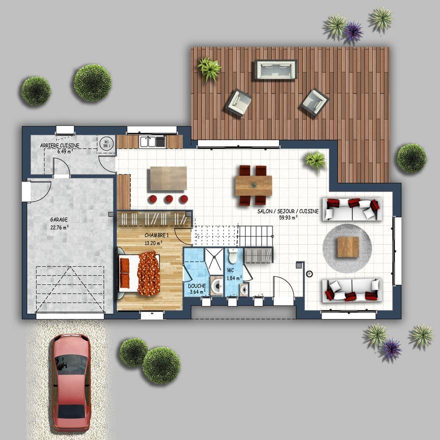 Cette maison familiale contemporaine est composée de 4 chambres dont