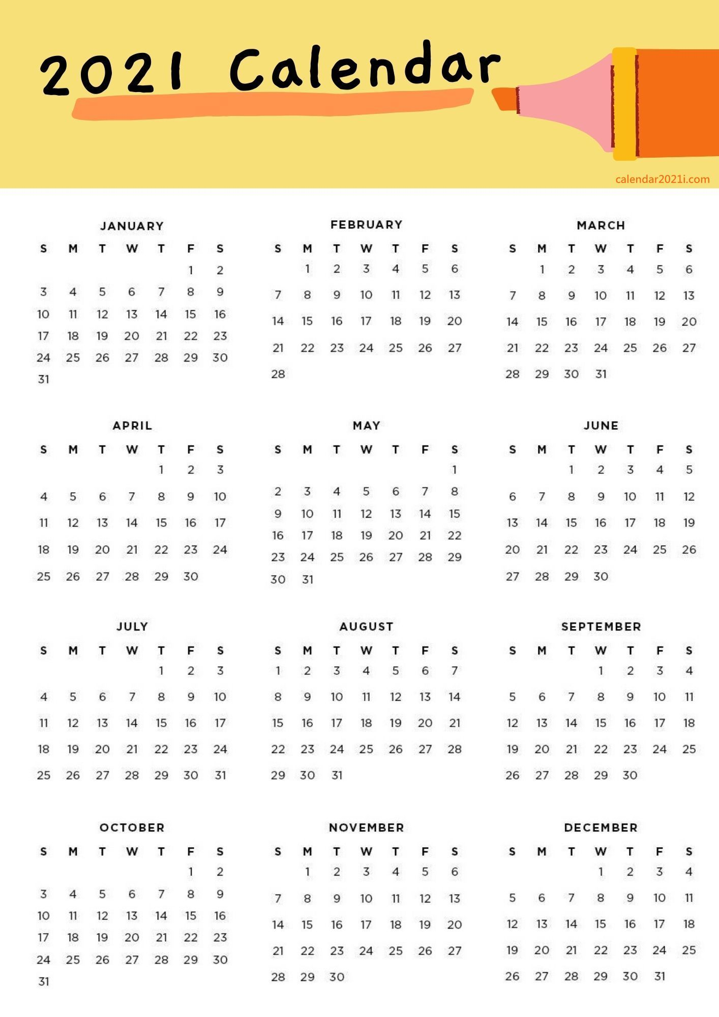 Yearly 2021 Calendar A4 Paper Size Featuring All 12 Months Of This Year In 2021 2021 Calendar Calendar Paper Size