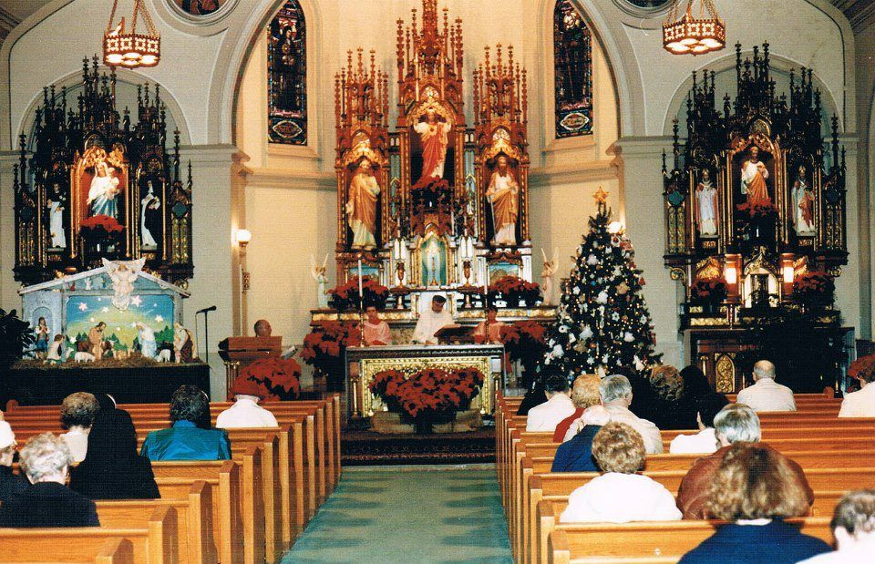 Inside view of St. Peter and Pauls church at Christmas
