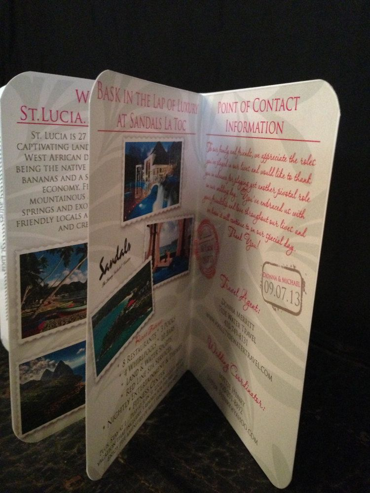Passport Wedding Invitation Deposit St Lucia Design Happiness 3