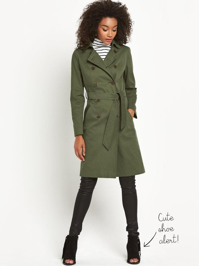 The Classic Trench Coast in Military Green.    Definitions Double Breasted Fashion Trench Coat £37