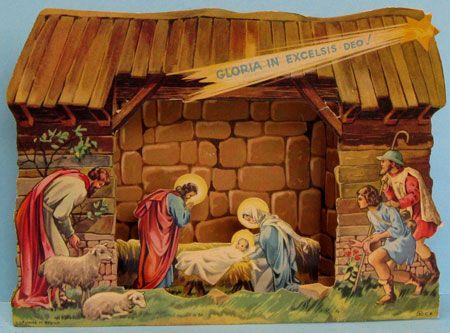 antique christmas ornaments paper nativity houses. Black Bedroom Furniture Sets. Home Design Ideas