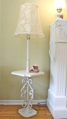 Shabby chic floor lamp white cottage chic pinterest floor lamp shabby chic floor lamp mozeypictures Gallery