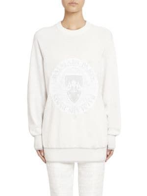Trim Balmain balmain Tie cloth Coin Ribbed Dye Sweatshirt aaxAwrUq5