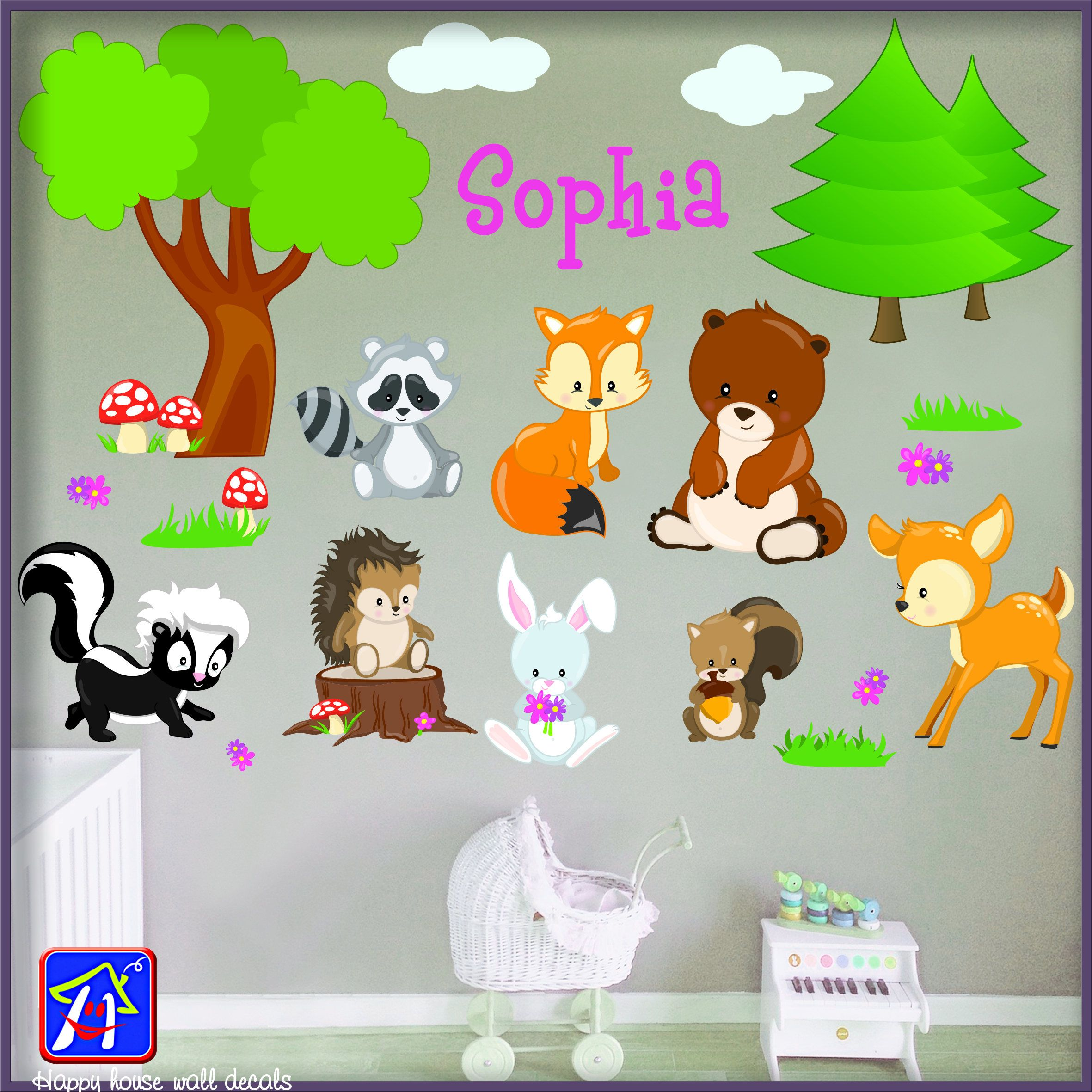 Woodland Animals Decal - Forest Animals Wall Decal - Forest Scene Wall Decals - Forest Animals nursery wall decals - Cute Animals stickers by HappyHouseNo1 ...  sc 1 st  Pinterest : forest animals nursery wall decals - www.pureclipart.com
