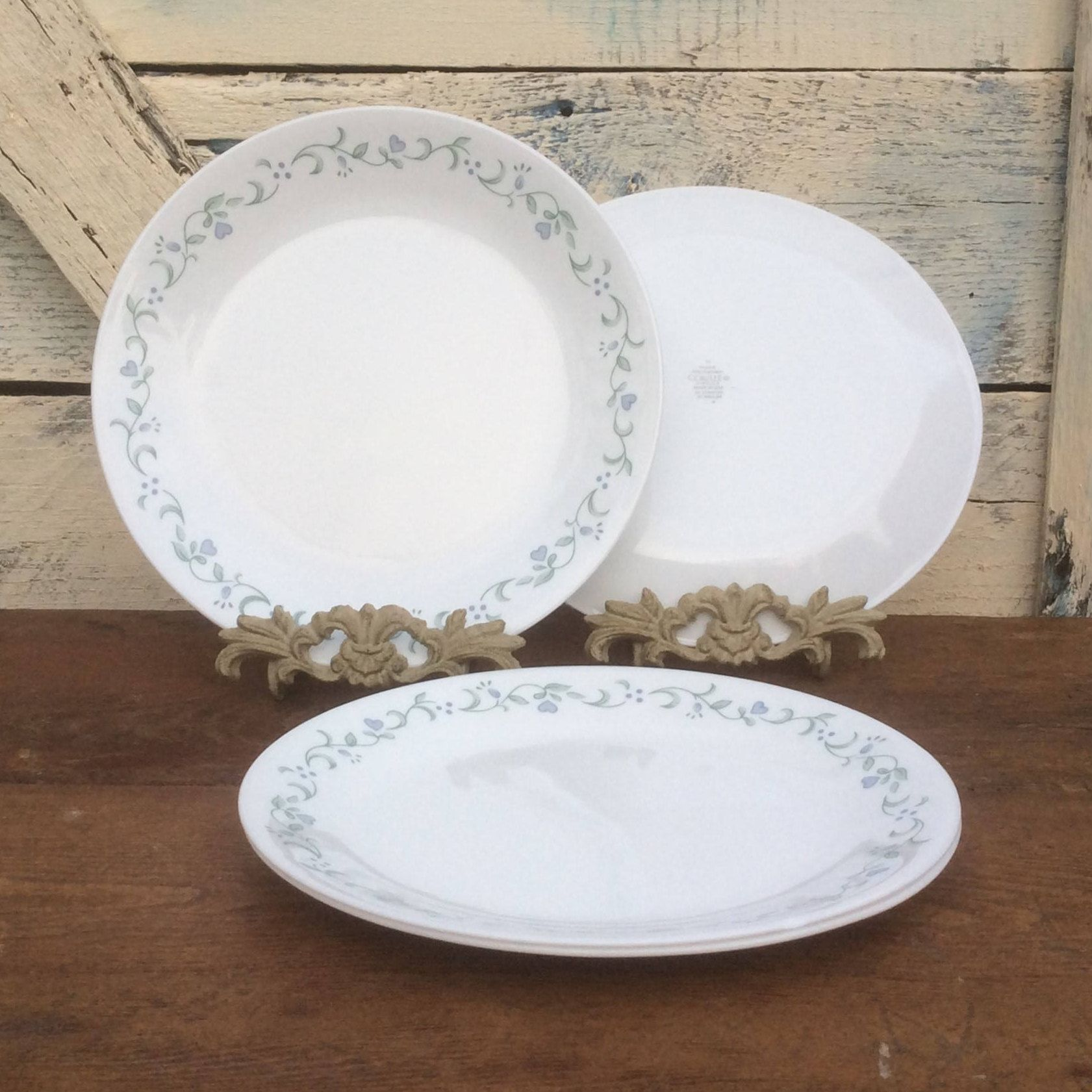 4pc Set Vintage Corelle Country Cottage Dinner Plates | Corelle by Corning Dinnerware | White with & 4pc Set Vintage Corelle Country Cottage Dinner Plates | Corelle by ...