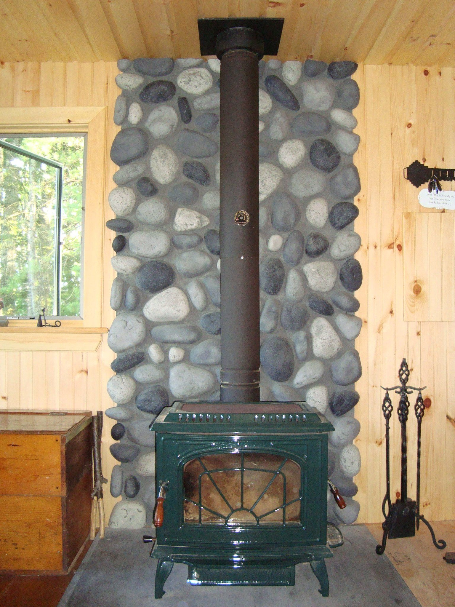 Remodeling A Wood Stove Wall Shield With River Rock Wood Stove