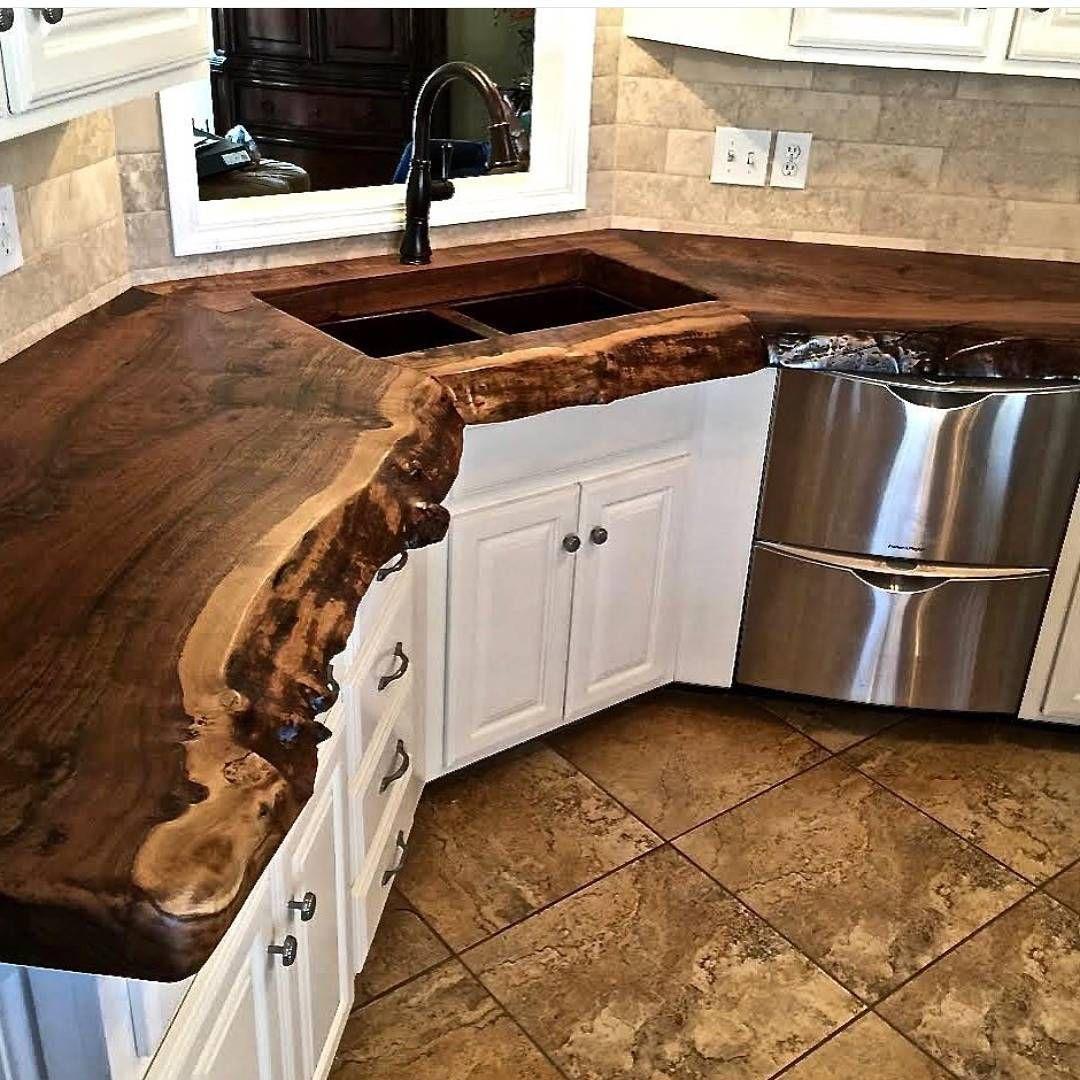 beautiful wood countertop do it yourself furniture pinterest k che holz und haus mit garten. Black Bedroom Furniture Sets. Home Design Ideas