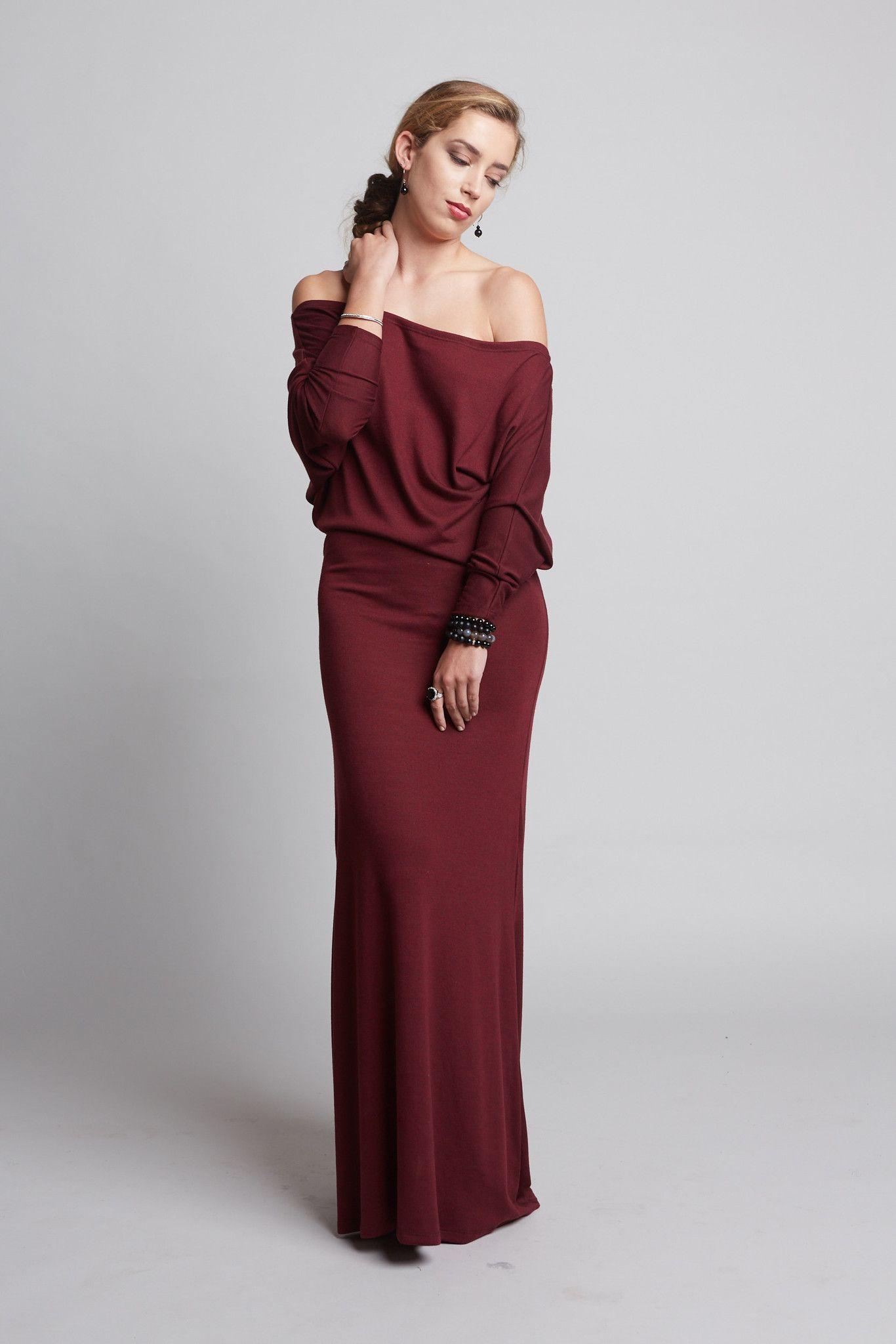 Mya burgundy off shoulder long dress products pinterest products