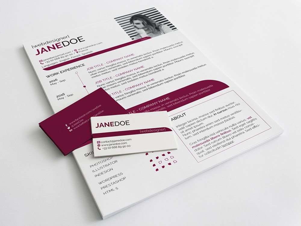 free feminine timeline resume template with business card