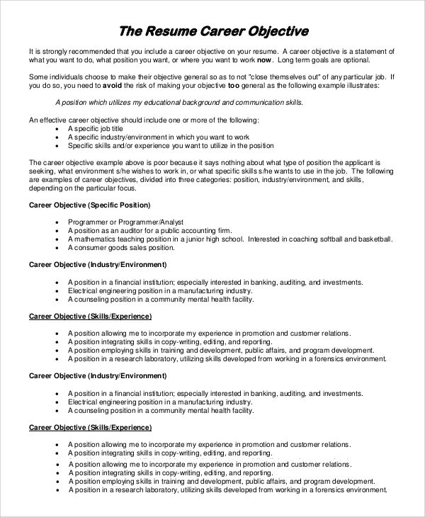resume objective example samples pdf word marketing statements - resume career objective statements