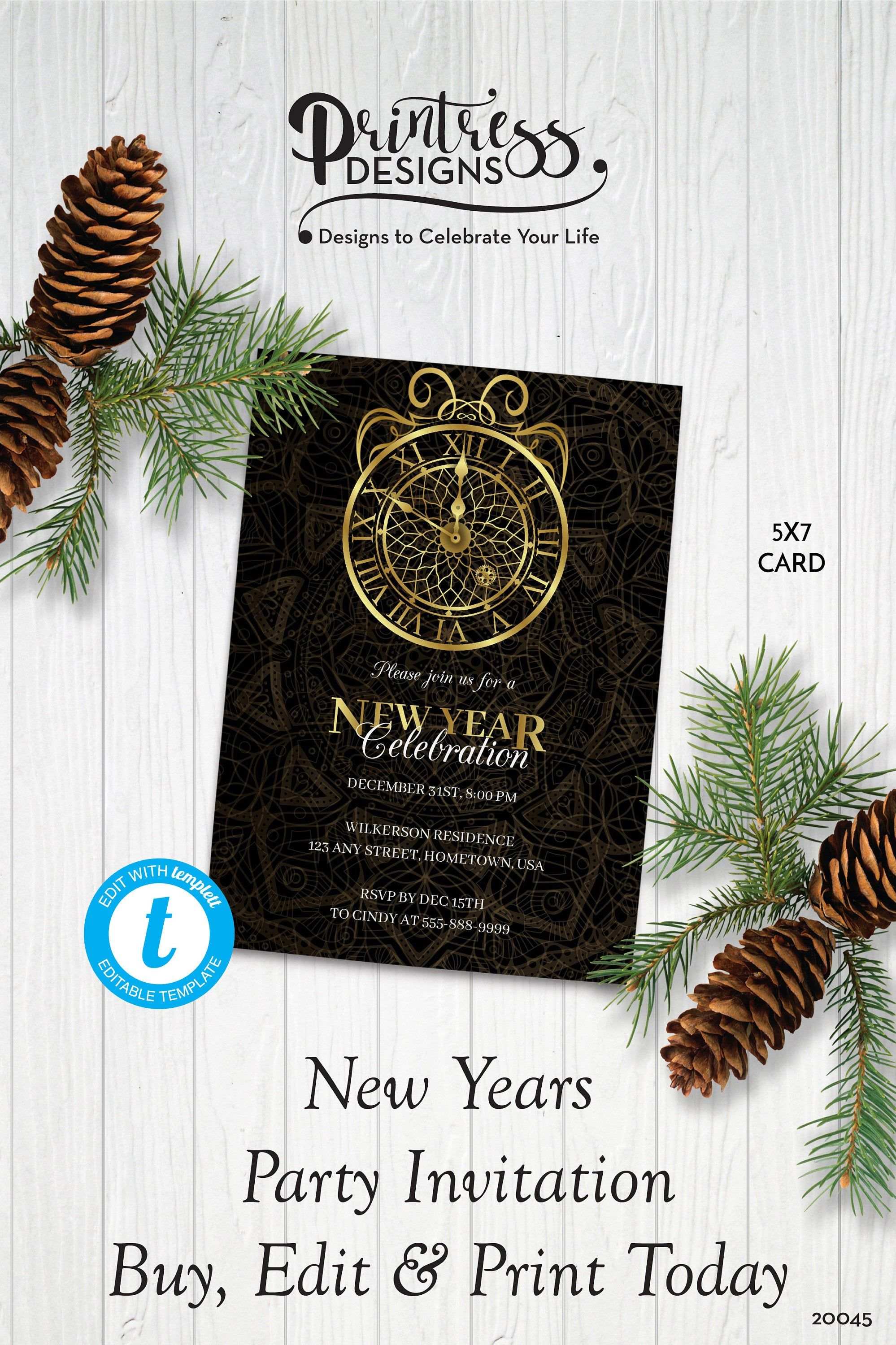 Gold Clock New Year's Party Invitation New Year's Eve