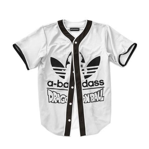 Dragon Ball Adidas Logo A Bass Ass Funny Baseball Jersey  Dragon  Ball   Adidas  Logo  BassAss  Funny  Baseball  Jersey f668a3eeb