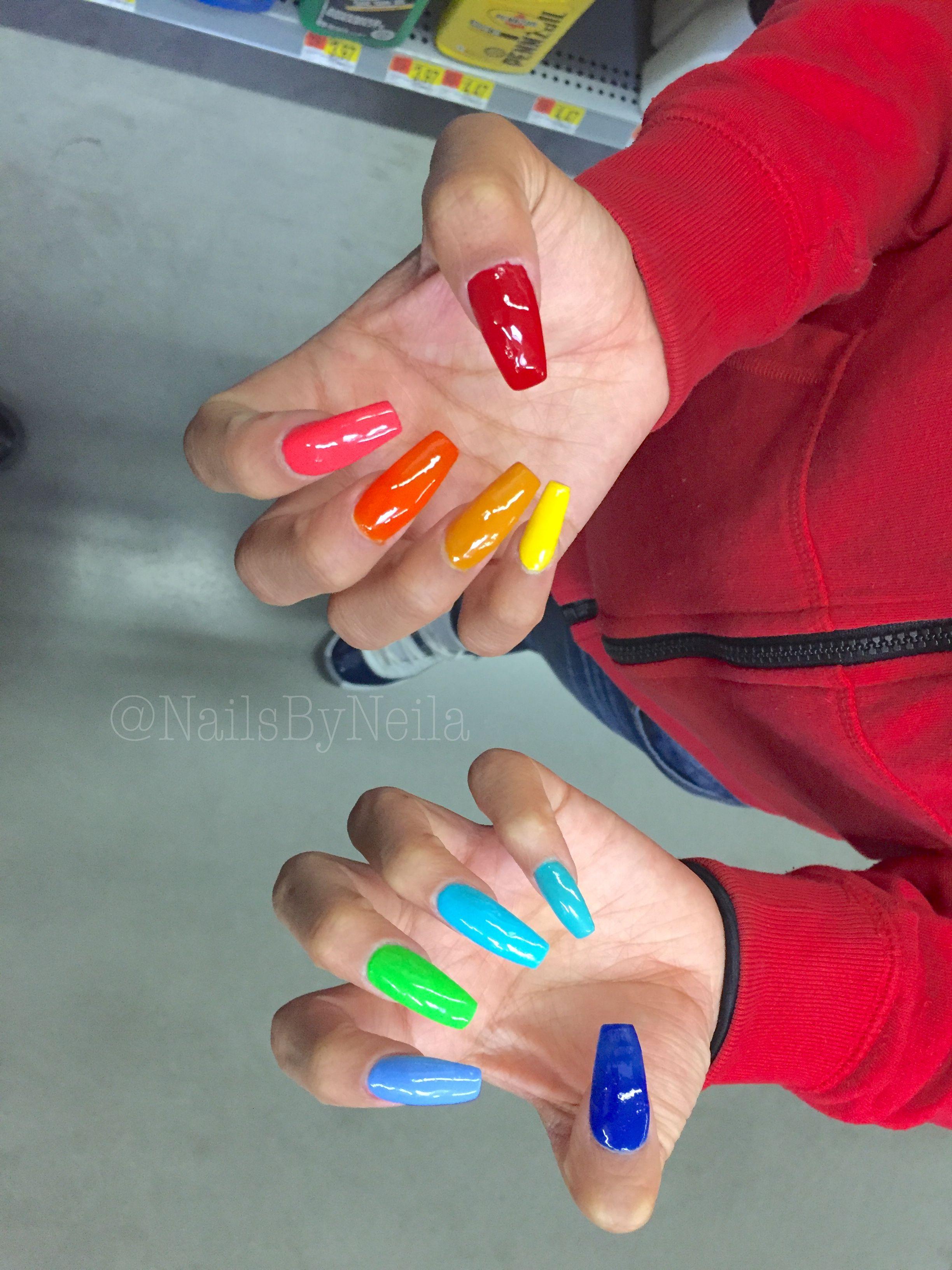 Rainbownails Baddie Nails Baddie Long Nails Malu Rainbow