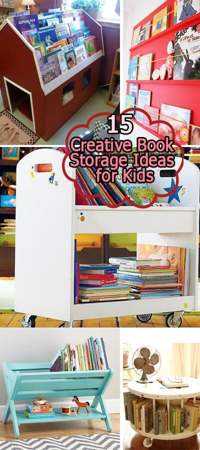 15 Creative Book Storage Ideas for Kids • Ideas, tutorials and some creative ways to declutter the book corner in your kids' rooms!