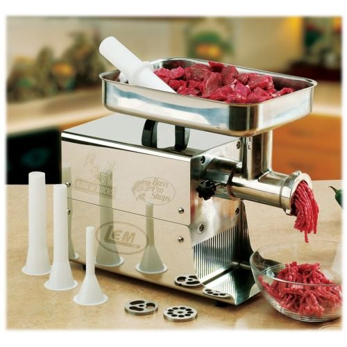 Durable, commercial-quality meat grinders for the home Large capacity stainless steel meat pan Easy to clean stainless steel housing, grinder head, and auger 110 volt, permanently lubricated motor All-metal gears and circuit breaker inside Includes one stainless steel grinder knife, and one course and one fine stuffing plate Large stainless steel meat pan Three stuffing tubes Meat stamper 2-year manufacturer's warranty Bass Pro Shops Electric Meat Grinders by LEM Products bring…