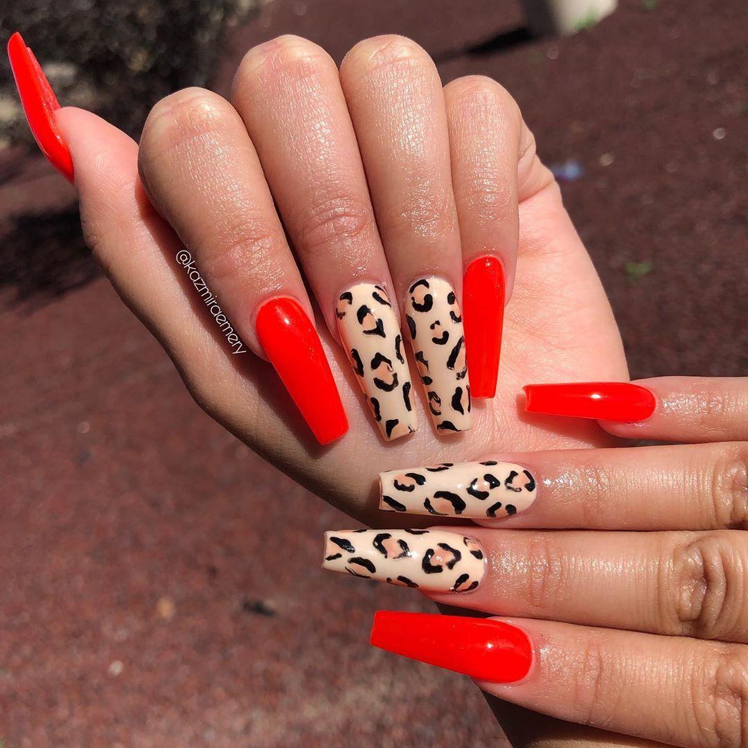50 Pretty Nail Art Designs To Try Fall 2019 Pretty Nail Art Designs Long Acrylic Nails Cheetah Print Nails