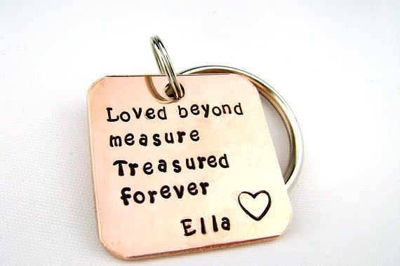 Memorial Keychain, Sympathy Gift for Men, Treasured Forever Bereavement Gift, Personalized Key Ring