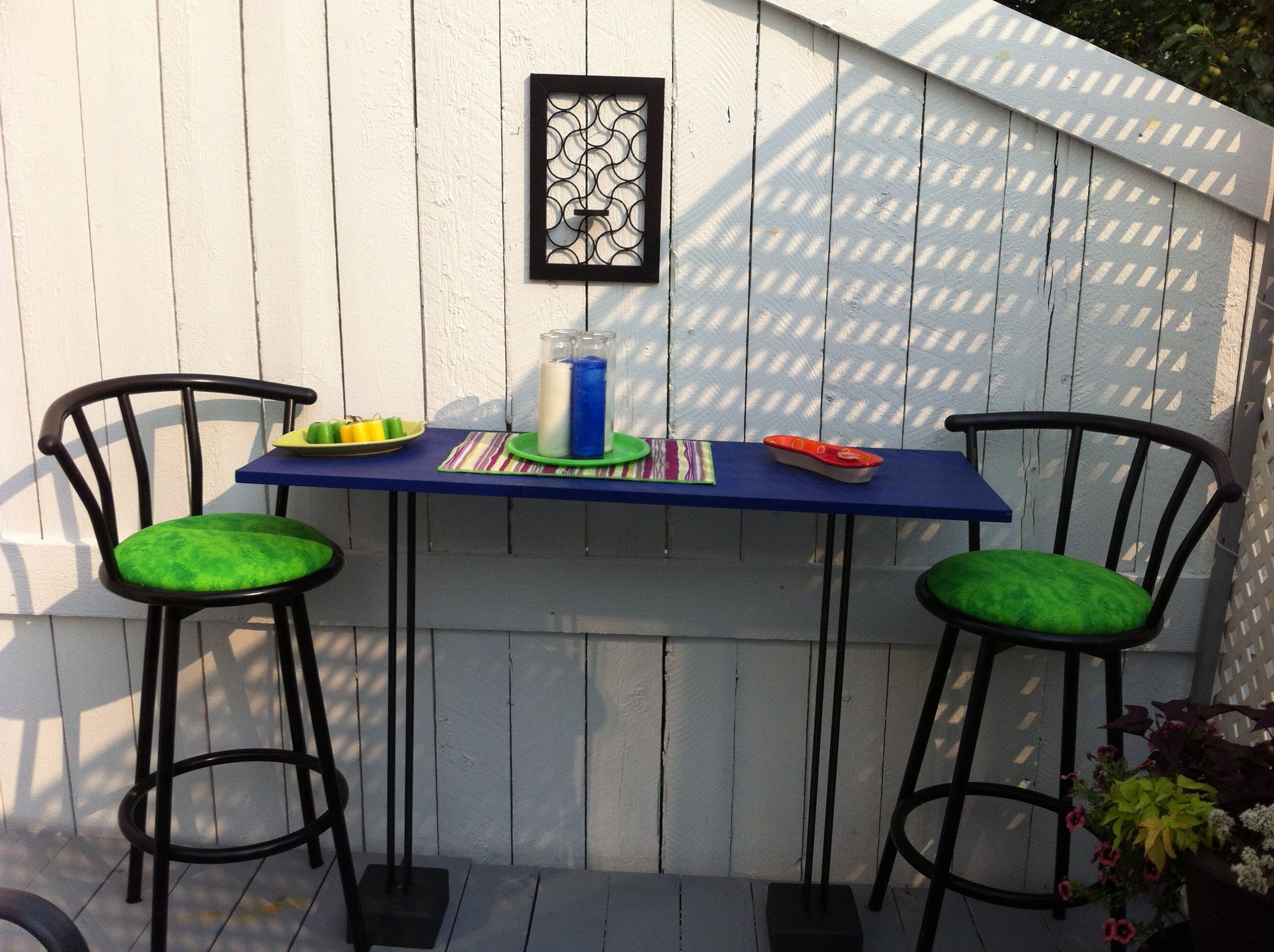 Repurposed Speaker Stands Into Patio Table/Bar From Blog 8 DIY Patio Accents