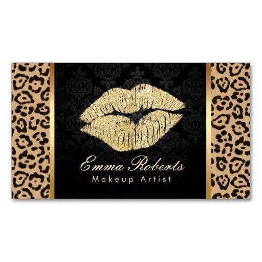 Gold kiss leopard print damask makeup artist business card gold kiss leopard print damask makeup artist business card colourmoves Images