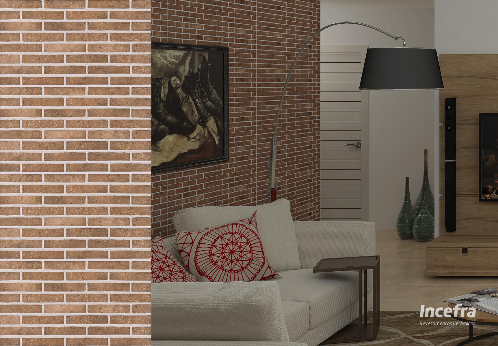 Tendência no mercado, cerâmica com detalhes de tijolo aparente.