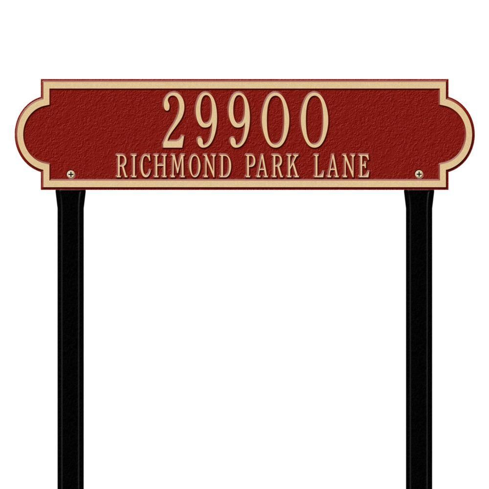 Whitehall Products Richmond Rectangular Red Gold Estate Lawn Two Line Horizontal Address Plaque Address Plaque Whitehall Products Red Gold