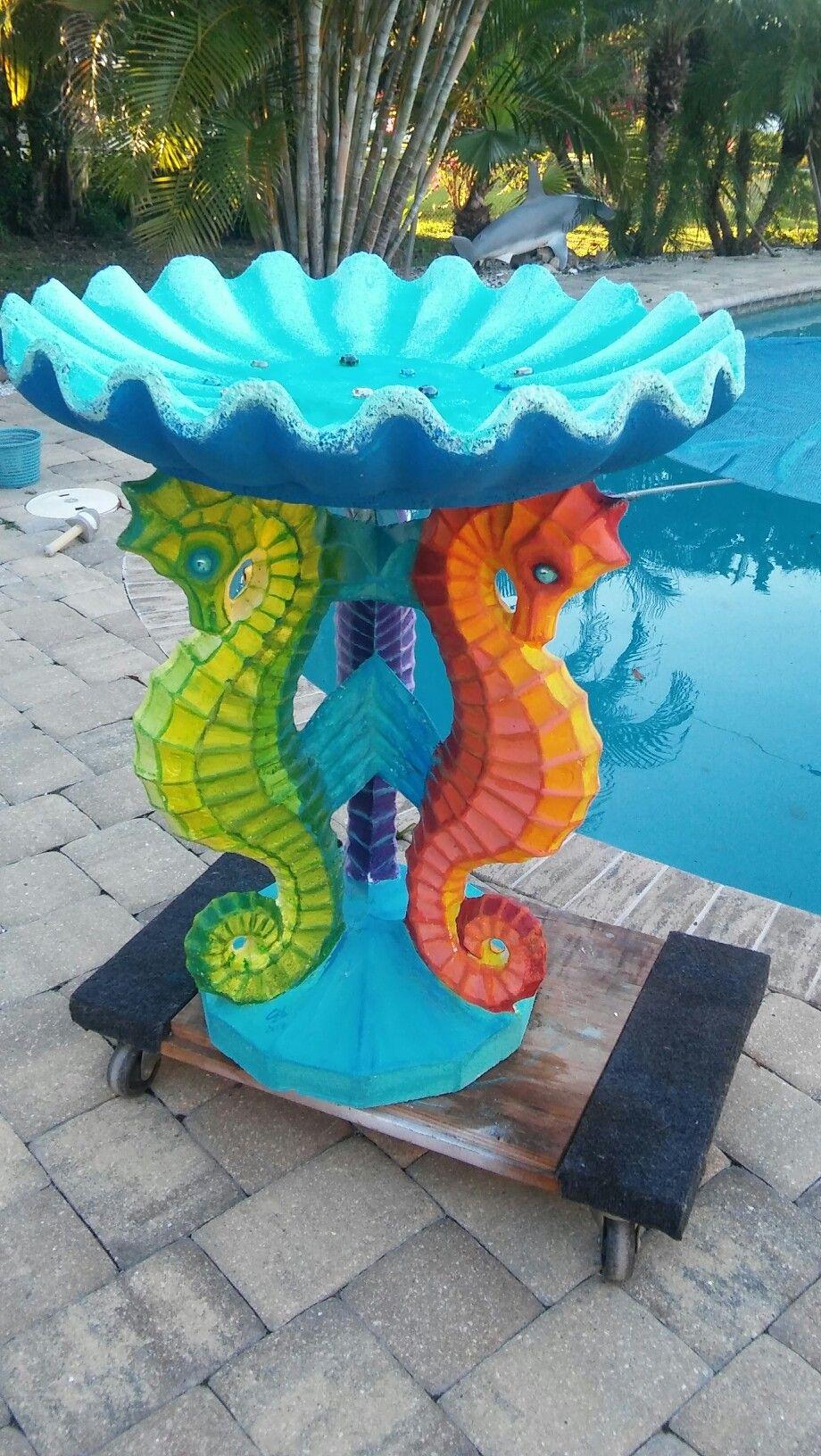 My Latest Creation Key West Seahorse Birdbath Bird Bath Garden Seahorse Decor Bird Bath