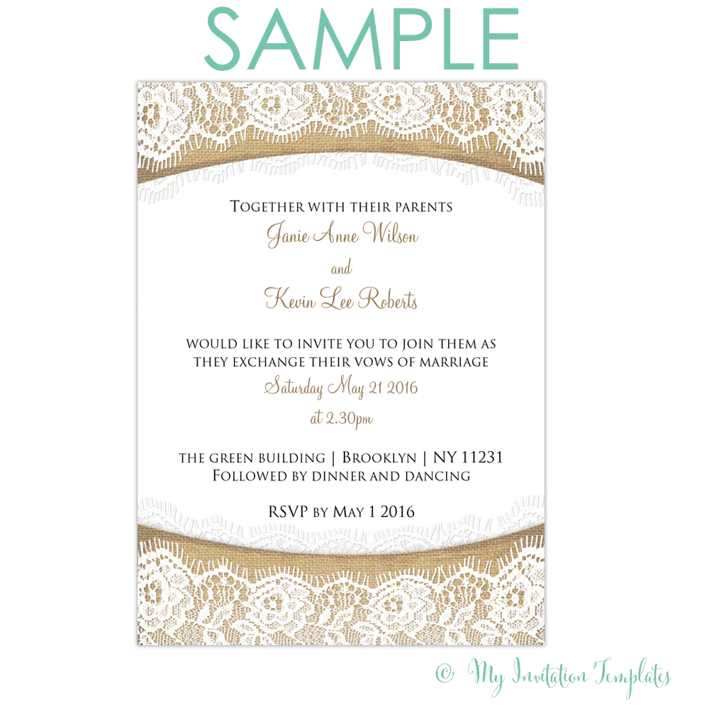 Rustic Burlap and Lace Wedding Invitation template SAMPLE | RS ...