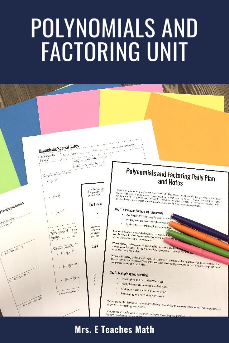 Polynomials And Factoring Unit High School Math Lesson Plans Reflection Math Polynomials [ 1102 x 735 Pixel ]