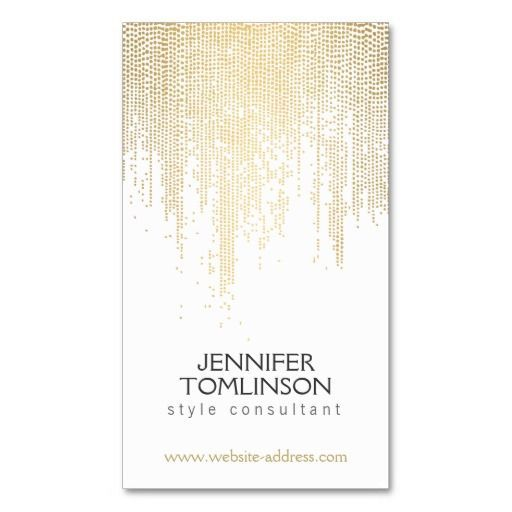 Elegant Faux Gold Confetti Dots Pattern Business Card Card - Standard business card template