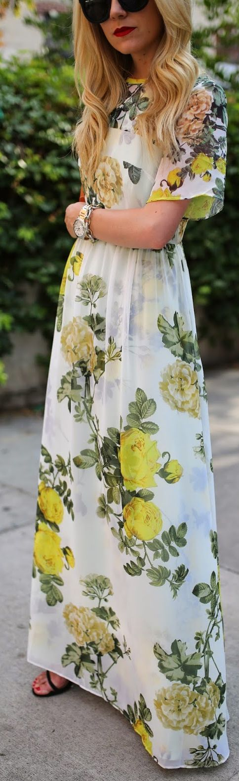 Asos Multi Floral Print Sheer Hem T-shirt Maxi Dress by Atlantic - Pacific