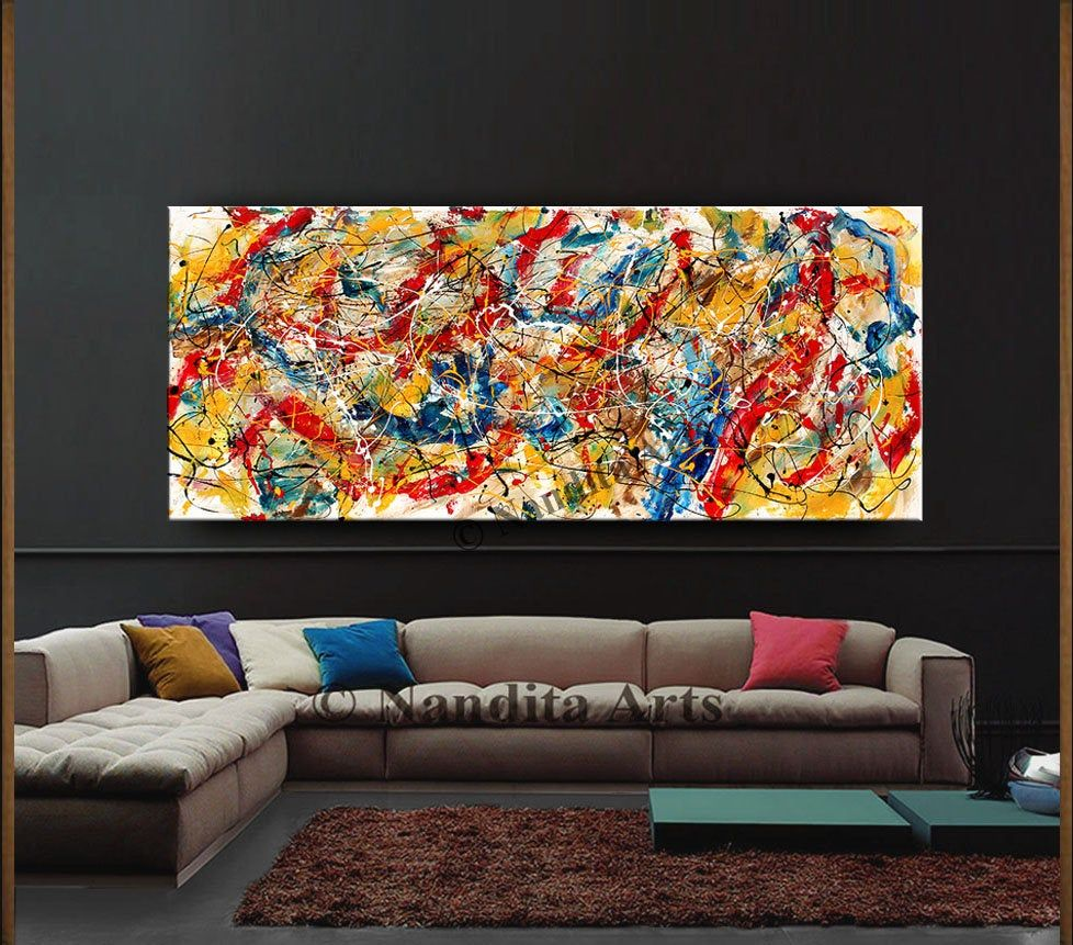Jackson Pollock Style Abstract Wall Art 72 Oil Painting Multicolor Rich Vintage Style Painting On Ca Large Canvas Art Abstract Wall Art Abstract Art Painting