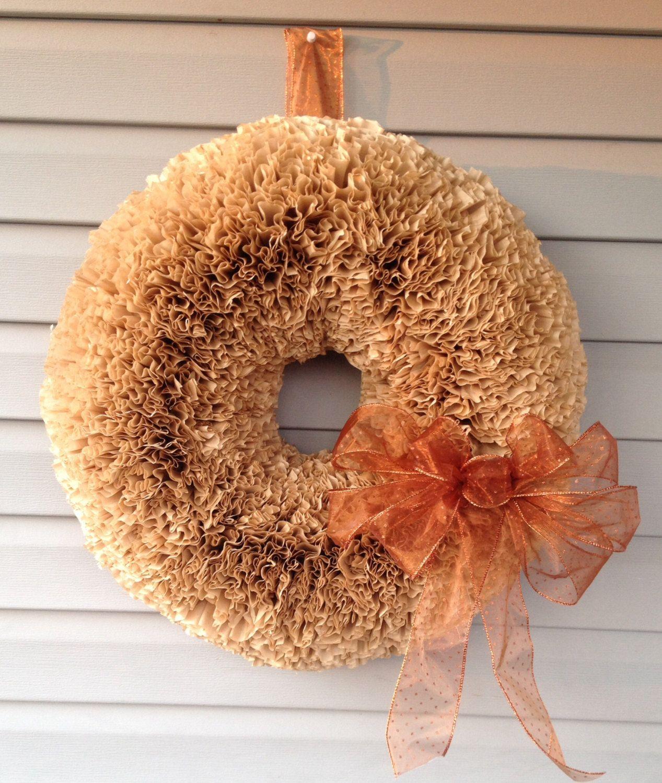 Handmade Fall Coffee Filter Wreath by ChickenLadyWreaths on Etsy