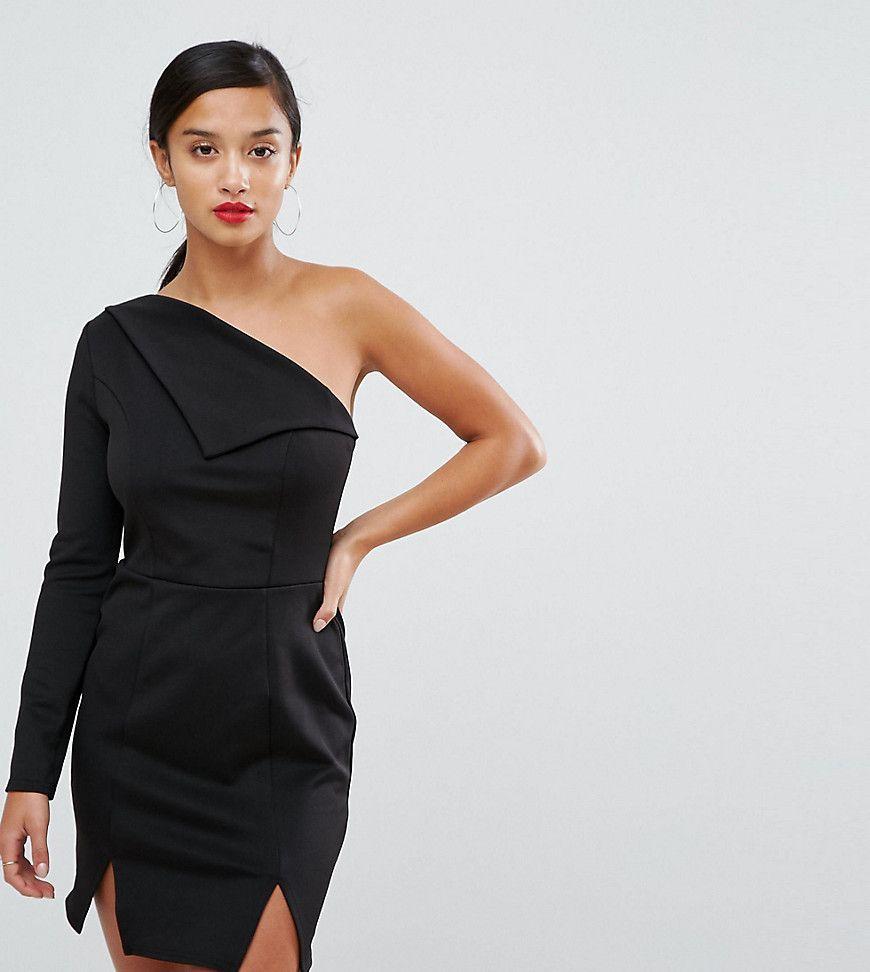 Asos petite double split one shoulder mini dress black products