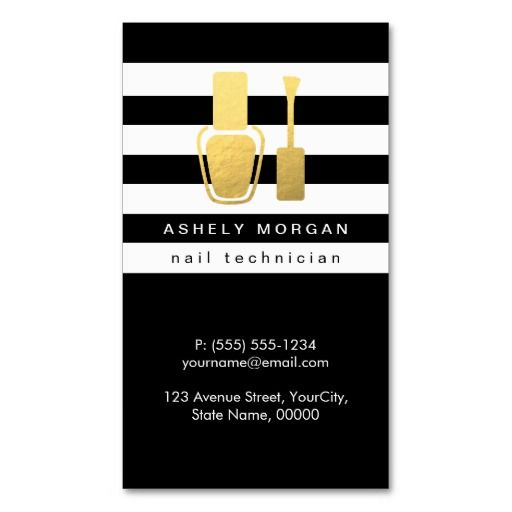 Nail Technician Gold Polish Bottle B W Stripes Double Sided Standard Business Cards Pack Of