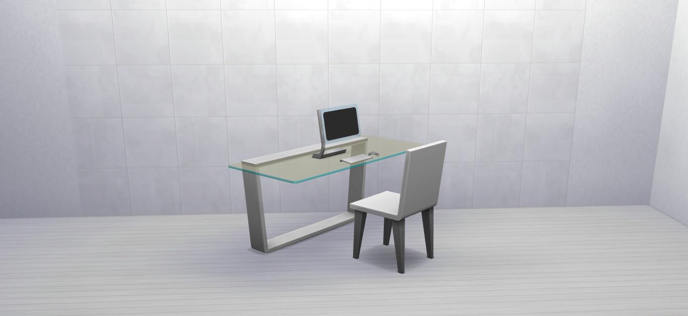 The cantilevered glass desk i by mrmonty96 via modthesims i basegame i sims 4 i ts4 i maxis match i mm i cc