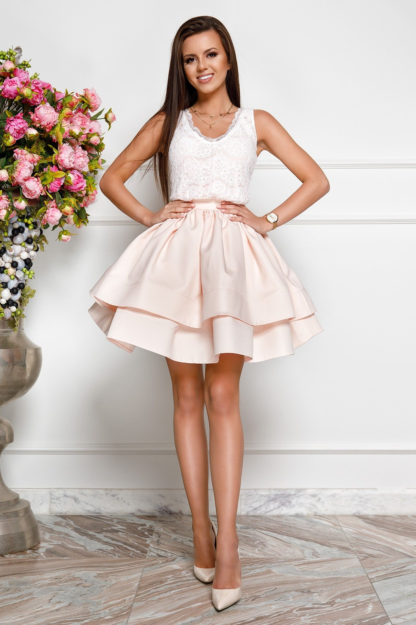 9fdae4bd33c A-Line V-Neck Above-Knee Beige Tiered Homecoming Party Dress with Lace