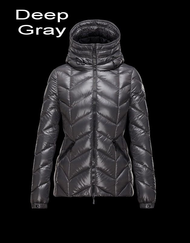 Moncler Badete Women Bright Down Proof Fixed Hood Jacket Deep Gray Free  Shipping