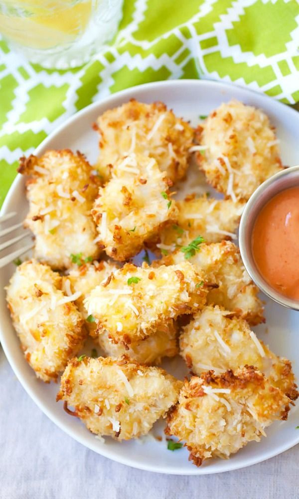 Parmesan Baked Chicken Nuggets – crispy chicken nuggets with real chicken & no frying. Easy, yummy, adults & kids love these amazing nuggets!!! | rasamalaysia.com