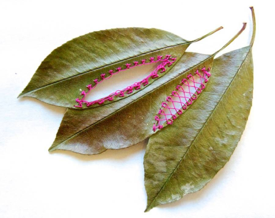 Embroidered Plant Leaves
