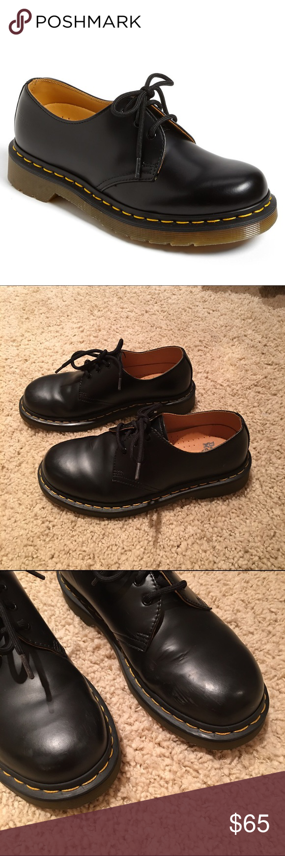 Doc / Dr. Martens Black Oxfords size 6.5 Doc / Dr. Martens Black Leather Oxfords in a size 6.5! These are so cute and in amazing condition aside from some scuffing on the toes shown in the third photo. The fourth photo is the actual pair on me. I'm a size 7 and these fit just fine. Comment any questions!  Dr. Martens Shoes