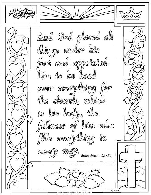 Ephesians 1 22 23 Print And Color Page Coloring Pages For Kids