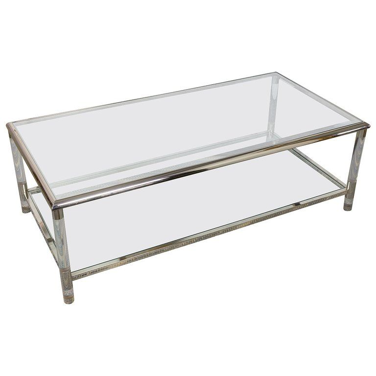Mid Century Modern Rectangular Lucite Chrome And Glass Coffee Table Modern Square Coffee Table Stainless Steel Coffee Table Brass Coffee Table