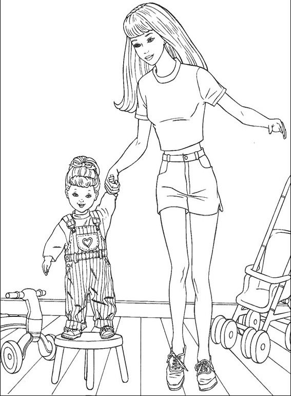 Barbie And Baby Coloring Sheet Pages Color My World Barbie