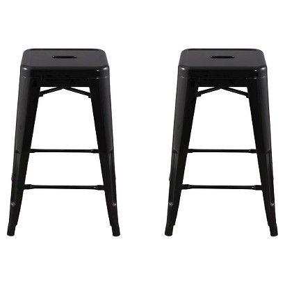 Marvelous Carlisle 24 Metal Counter Stool Natural Set Of 2 Creativecarmelina Interior Chair Design Creativecarmelinacom