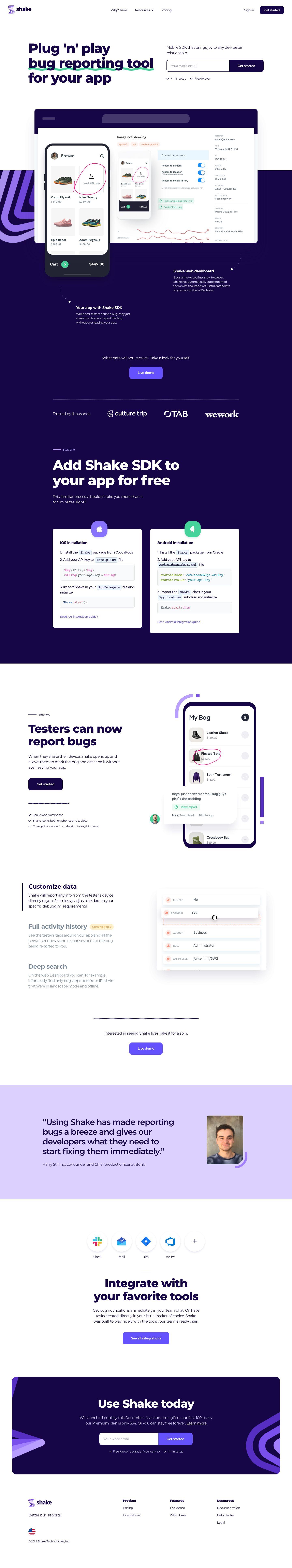 Shake Landing Page Design Inspiration Lapa Ninja Web App Design Landing Page Design Web Design