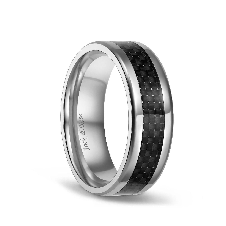 Carbon Fiber Inlay Black Titanium Mens Wedding Bands 8mm Custom
