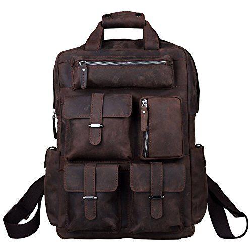 114 00 S Zone Mens Genuine Leather Handmade 17 Inch Laptop Backpack Rucksack Multi Pockets Travel Sports Bag