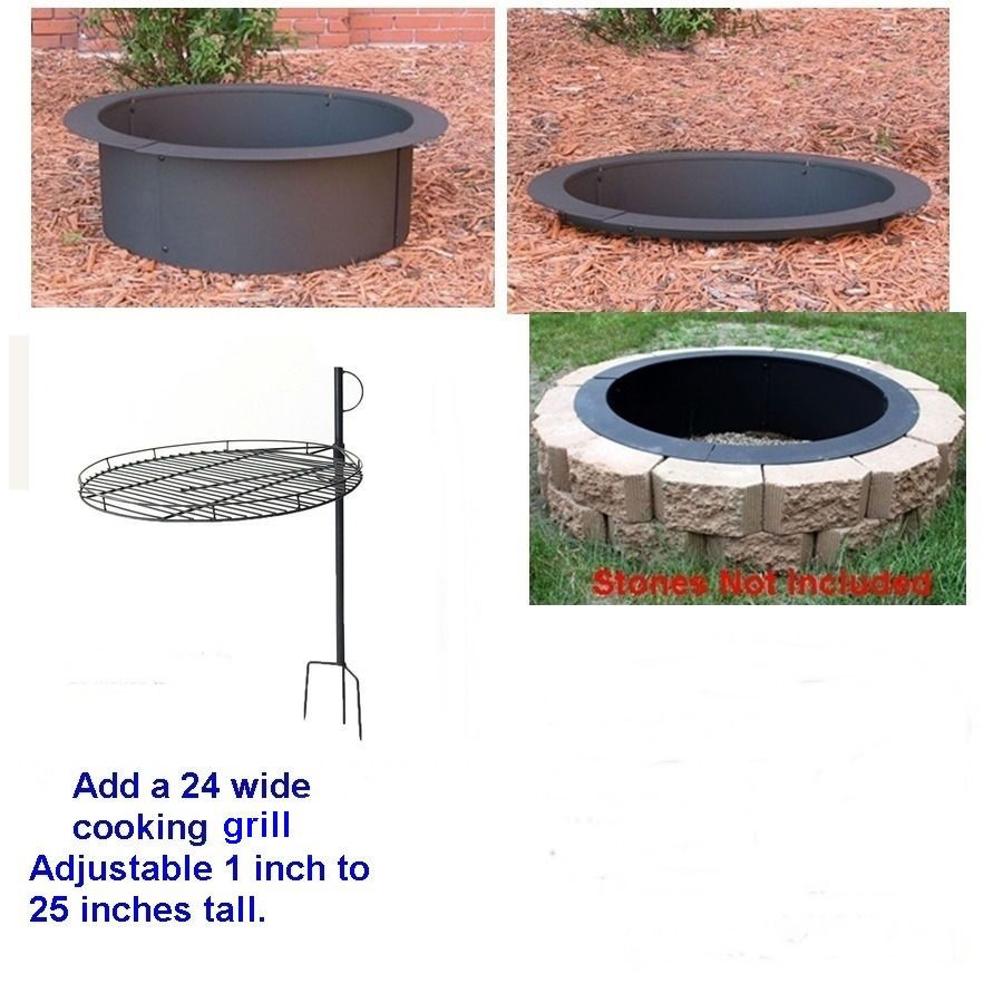 Details About 4 Pc Diy Round Steel Fire Pit Ring Rim Kit 27 30 36 Inch Heavy Duty 2 0 Mm Steel Fire Pit Ring Fire Pit Materials Fire Pit Ring